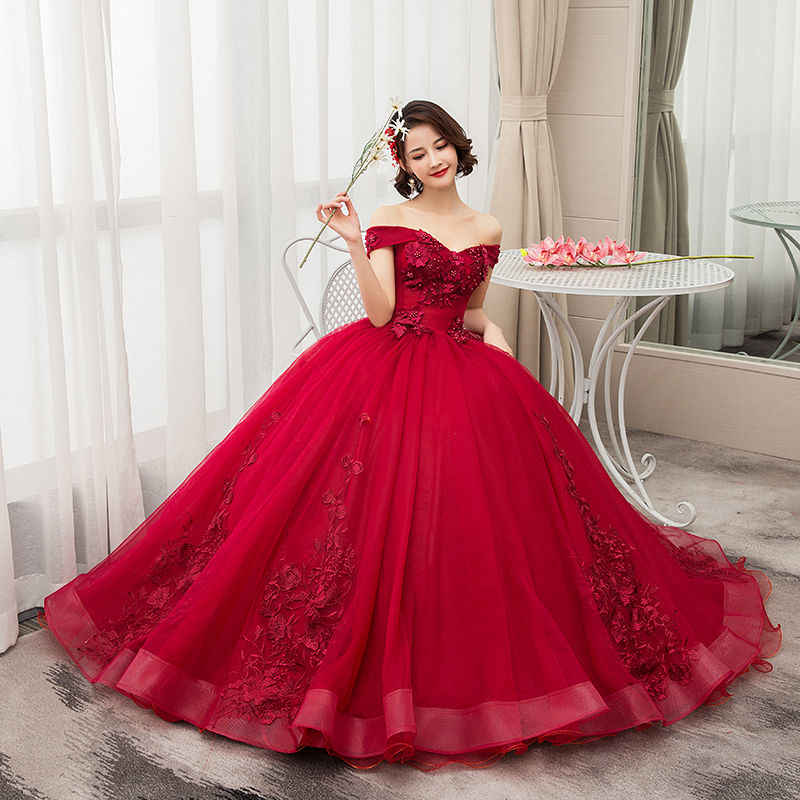 2019 New Mrs Win Off The Shoulder Luxury Lace Party Vestidos 15 Anos Vintage Quinceanera Dresses 4 Colors Quinceanera Gown F