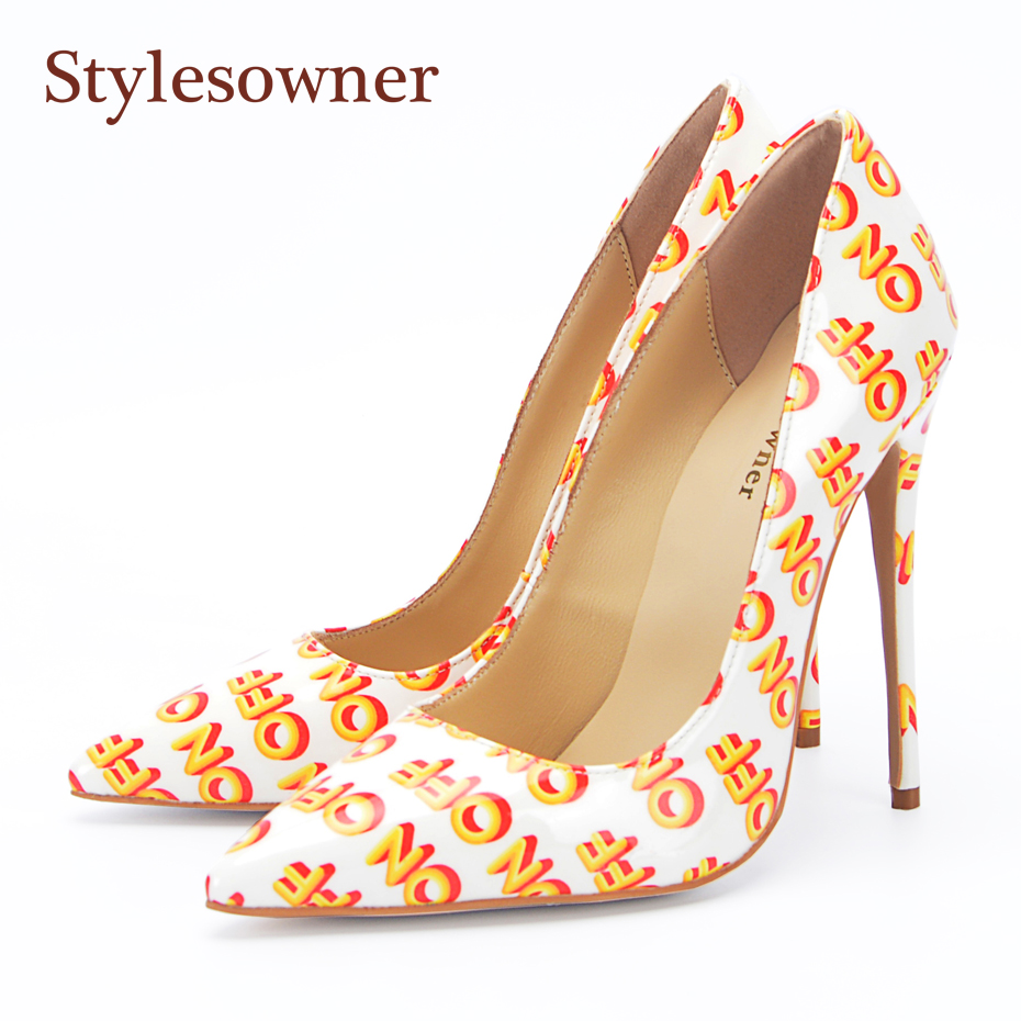 Stylesowner Women Pumps Print Words PU Leather Stiletto Heel Shoes Woman Pointed Toe Slip On Office Ladies Dress Shoes Pumps