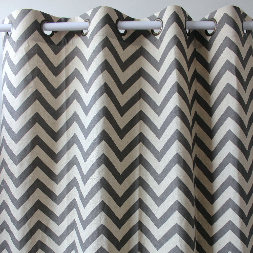 New Arrival Chevron Geometrics Abstract Grey Linen Window Ready Curtains Panel Door Bedroom Living Room Store