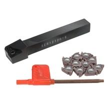 1Pc Ser1212H16 Cnc uchwyt do wytaczadła + 10 sztuk 16Er Ag60 toczenie wkładki z kluczem do narzędzie tokarskie zestaw