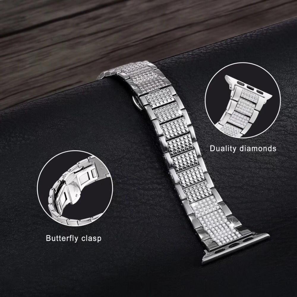 Bracelet élégant en diamant fermoir papillon bracelet en acier inoxydable pour bracelets de montre Apple 44mm 42mm, pour iwatch 40/38mm série 5/4/3/2/1