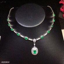 0a65736201c8 KJJEAXCMY boutique joyas 925 Plata pura Esmeralda naturales incrustaciones  collar prueba de apoyo