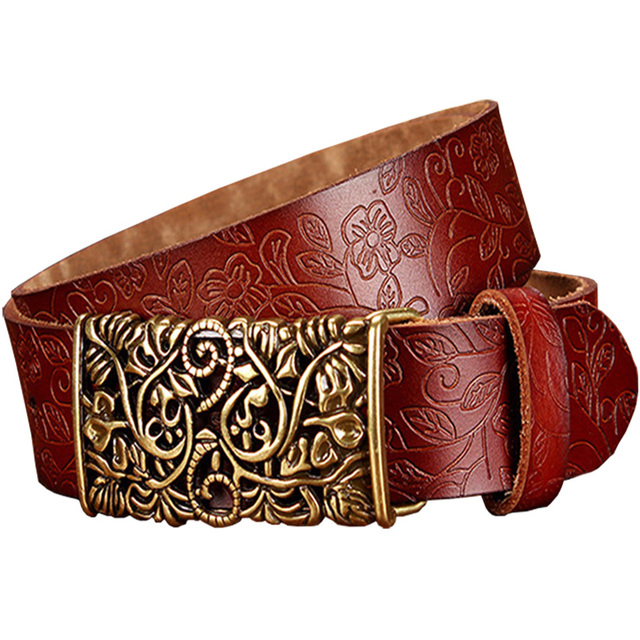 New Floral Design Metal Buckle Genuine Leather Belt For Woman