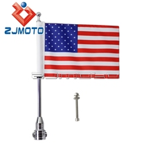 Motorcycle USA Flag For Harley Cafe Racer Chopper Silver Flagpole Motorcycle Rear Side Mount Skull Flag