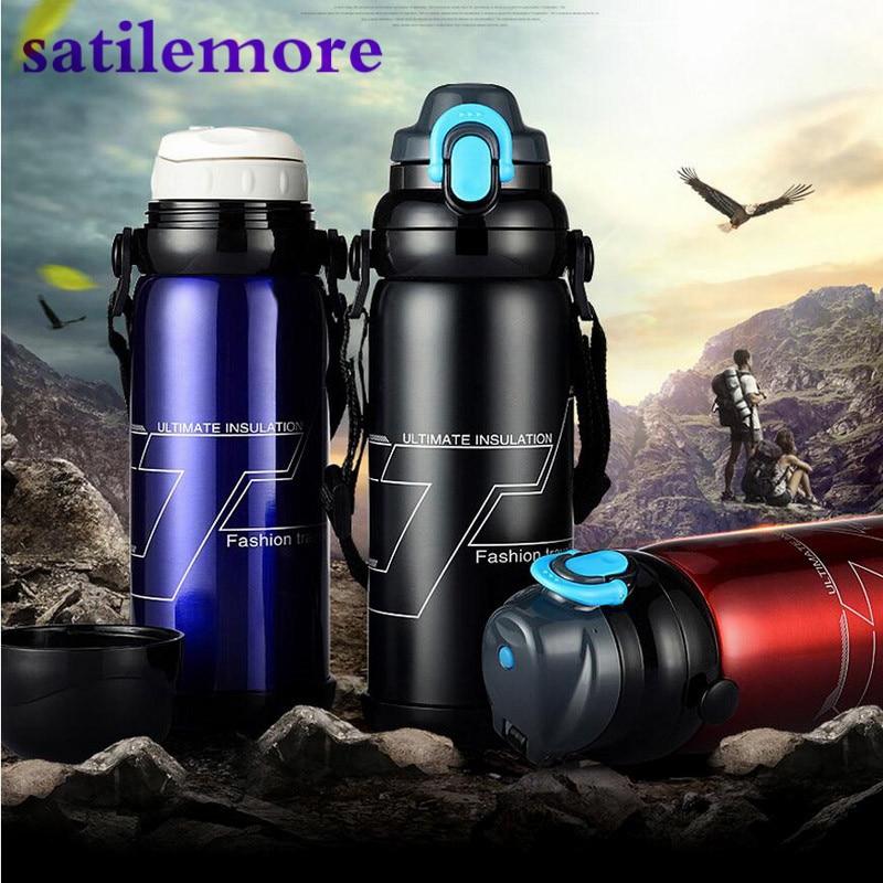 800 ml Botella de Aislamiento de Acero Inoxidable Termo Grande Capacidad Para Deportes Al Aire Libre Café Garrafa