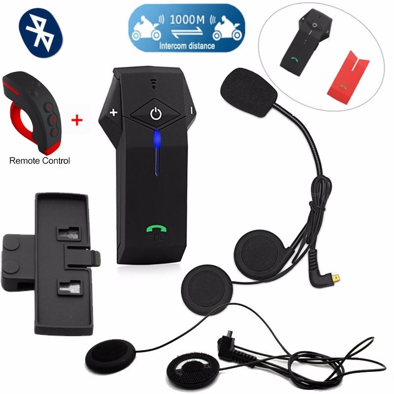 fdc colo rc motorcycle bluetooth intercom remote controlfree soft headsetclip - Free Colo