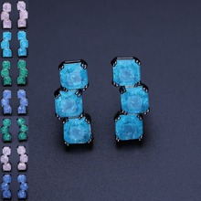 Square Stud Earrings explode fusion stone earrings Brincos for Women Fashion Jewelry EFX002432