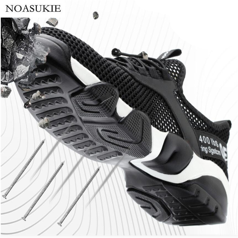 Men Summer Breathable Safety Shoes Mesh Lightweight Anti-Smashing Puncture Work Shoes Deodorant Casual Men Steel Toe Shoes