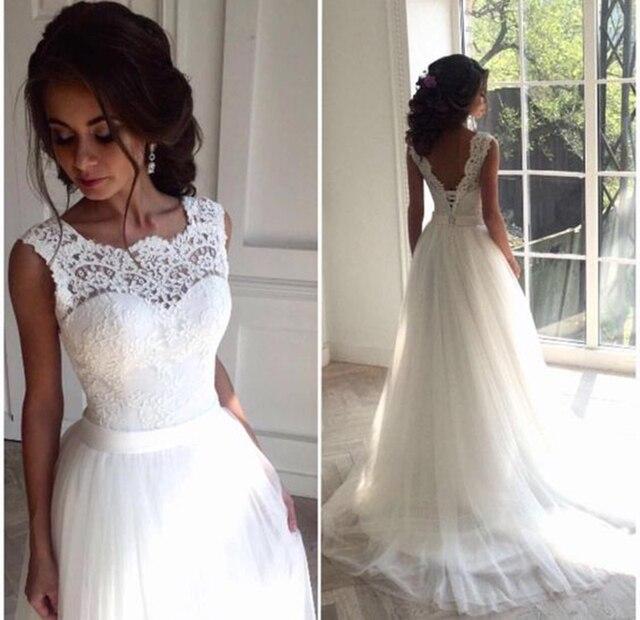 Solovedress קו תחרה חוף חתונה שמלת 2019 סקופ צוואר לבן כלה שמלת טול חצאית קפלת רכבת vestido דה noiva SLD-228