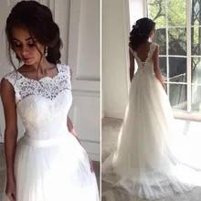 f871c1e53 Solovedress una línea de encaje vestido de boda de playa 2018 cuello  redondo vestido de novia