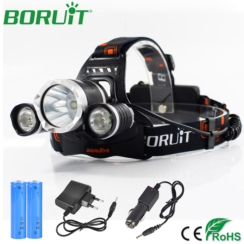 BORUiT 5000lm L2 R5 LED Headlamp Flashlight Rechargeable Headlight Camping Hunting Fishing Head Torch Light by 18650 Battery