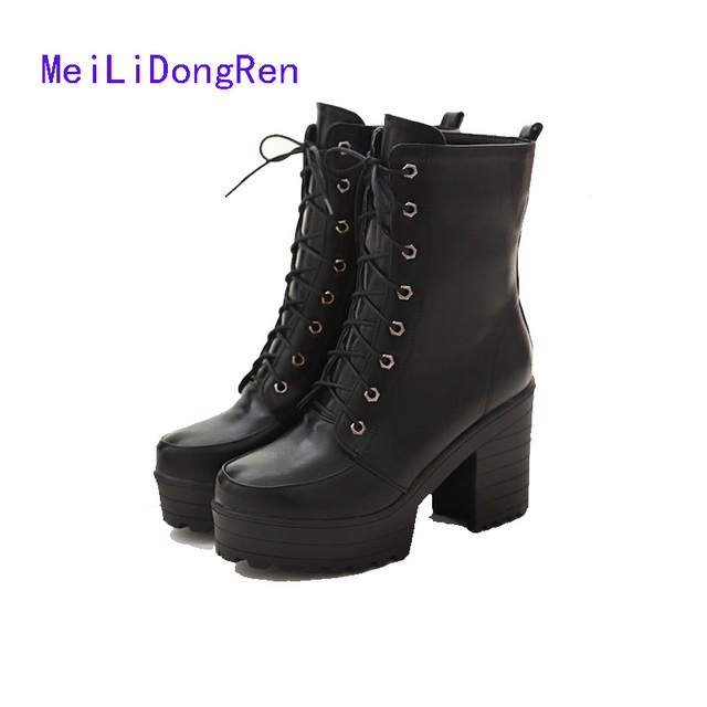 Women's Trendy Round Toe Platform Lace Up Mid Calf Warm Boots