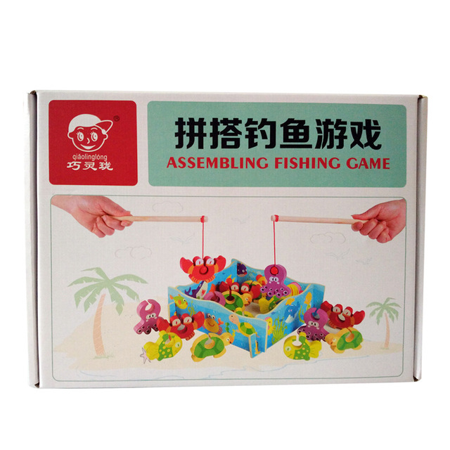 Children Educational Kids Toys 3D kids fishing toys wooden Fish Fishing Game brinquedos juguetes W186