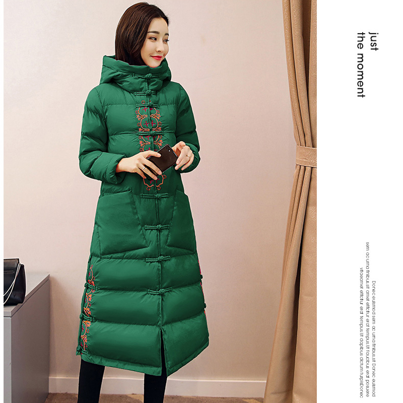 Odzież zimowa kobiety kurtka płaszcz haft ciepłe kurtki wysokiej jakości z kapturem płaszcze chiński styl kz300 w Parki od Odzież damska na  Grupa 3