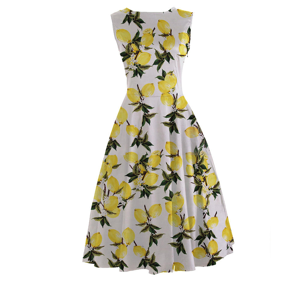 efefebab5e4e5 CandowLook Autumn Women Vintage 50s Blue Frida Kahlo and Pink Lemon Frock  Rockabilly Boat Neck Swing Midi Pinup Dress Vestido-in Dresses from Women's  ...