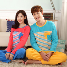 2017 Full Sleeved Couple Pajama Sets Leisure Women Pyjamas Men Pijamas Cotton Female Sleepwear Striped HomeCloth Solid Pants