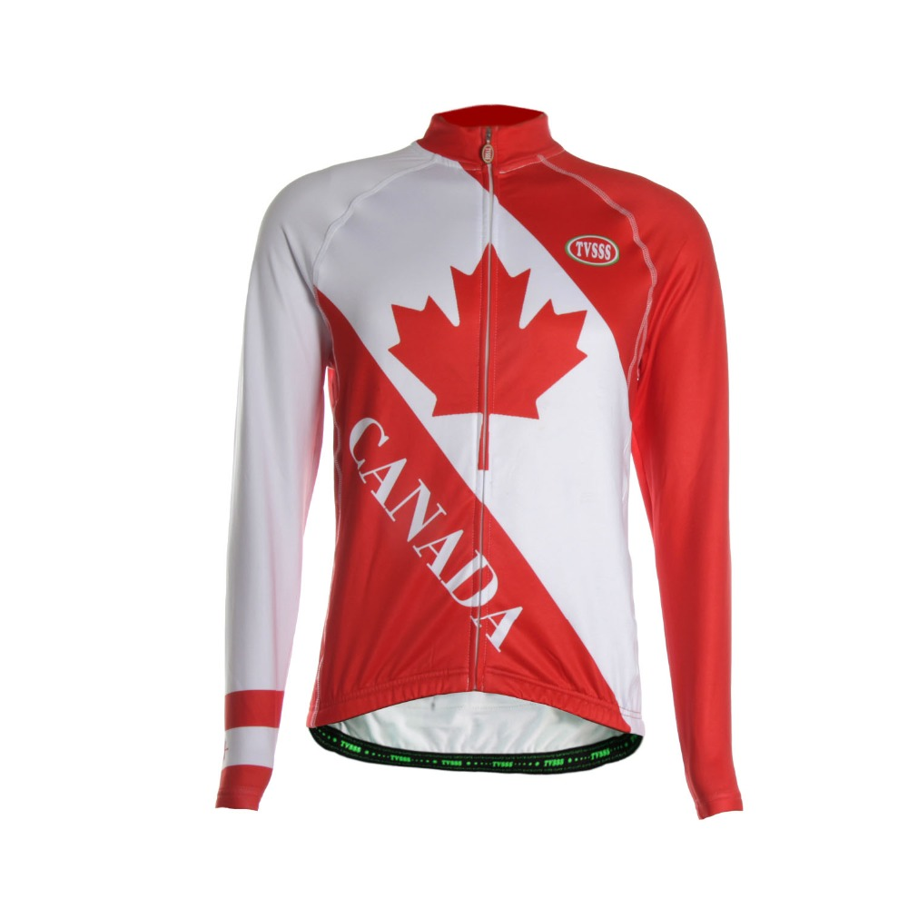 Tvsss men 39 s summer long sleeve cycling jersey canada flag for Made in canada dress shirts