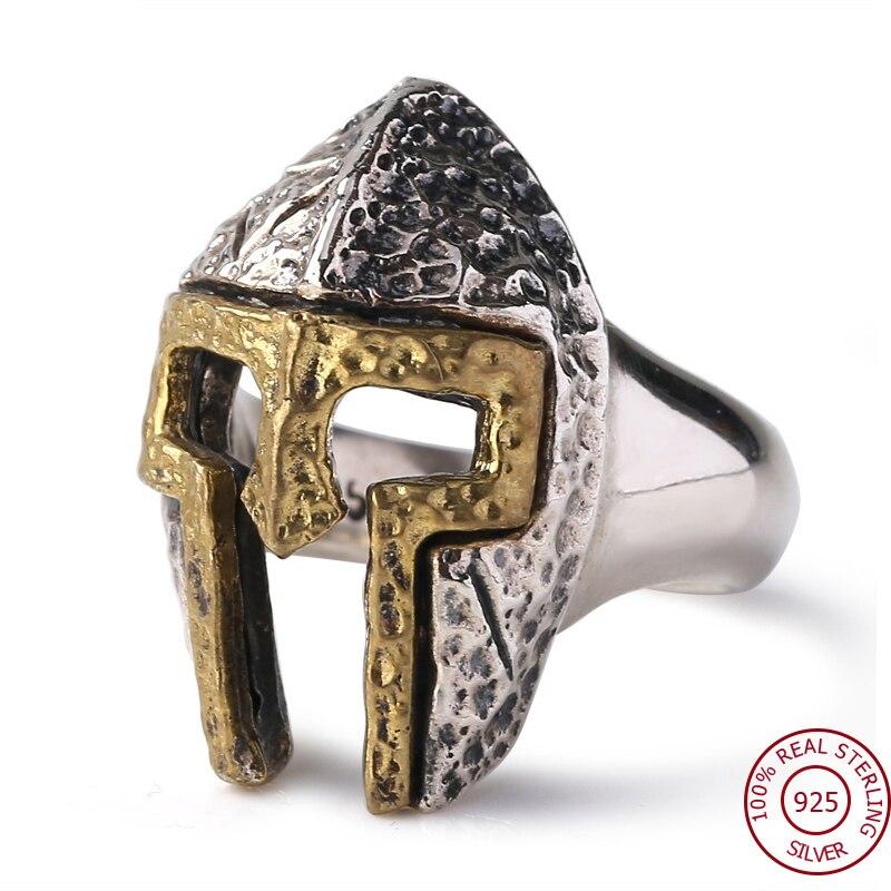 Anel 100% Real 925 prata Thai Homens Spartan Warrior Helmet Ajustável Presente Anel moda Jóias FR24
