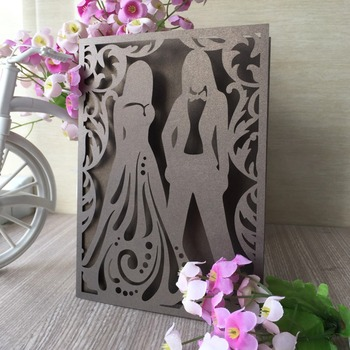 35pcs Laser Cut Bride&Bridegroom Invitations Card Romantic Wedding Invitations Anniversary Decorations Party Supplies