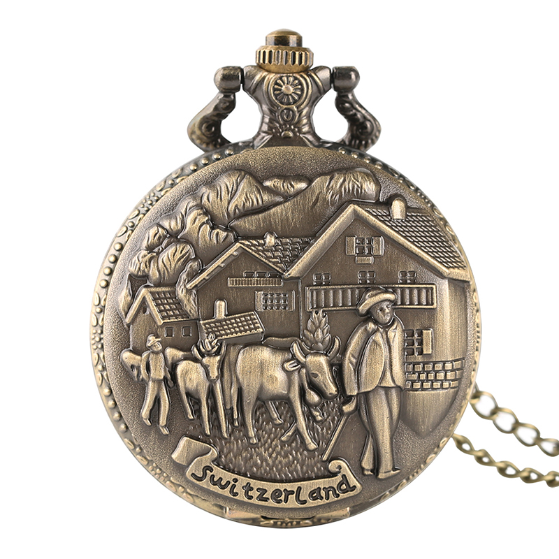 Retro Switerland Bronze Quartz Pocket Watch With Necklace Chain Vintage Cattle Sheep 3D Design Fob Pocket Watches For Men Boy