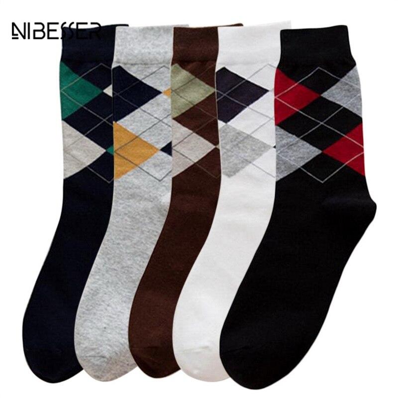 NIBESSER 1 Pair Plaid Socks Men Casual Hip Hop Socks Spring Autumn Men Fashion Socks For Male Work Cotton Sock Homme