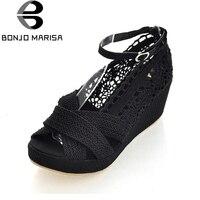 BONJOMARISA Summer Large Size 34 43 Gladiator Ankle Strap Sandals Platform Breathable Lace Open Toe Med