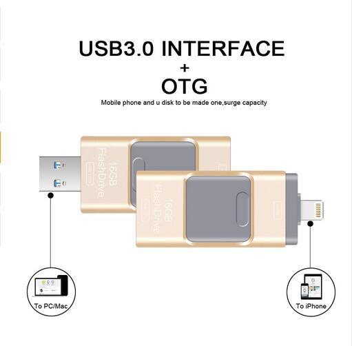 Новый OTG USB Flash Drive 64 ГБ pendrive 128/256/512 ГБ Металлическая Ручка Привода для iphone/ipod/ipad/PC памяти usb 3.0 Бесплатная Доставка