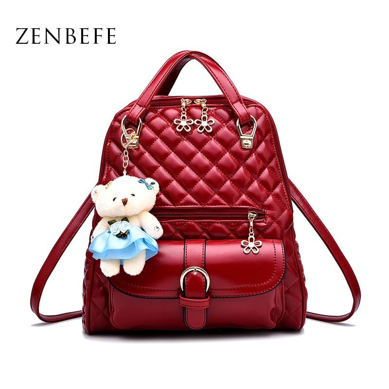 купить ZENBEFE Cute PU Leather Women Backpack Fashion Small Women Bag Multifunction Women Shoulder Bag Lady Travel Backpacks  Mochila недорого