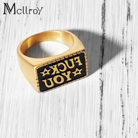Geometric Couple Brand New Fashion Simple 316L Titanium Steel Engraved Letters Men Ring Jewelry Punk Rings