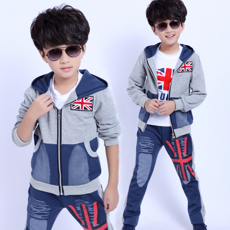 Children Clothing Winter Kids Clothes Boys sweater suit Autumn Three-piece children's sports Sweater + T shirt + Pant Suit 60#