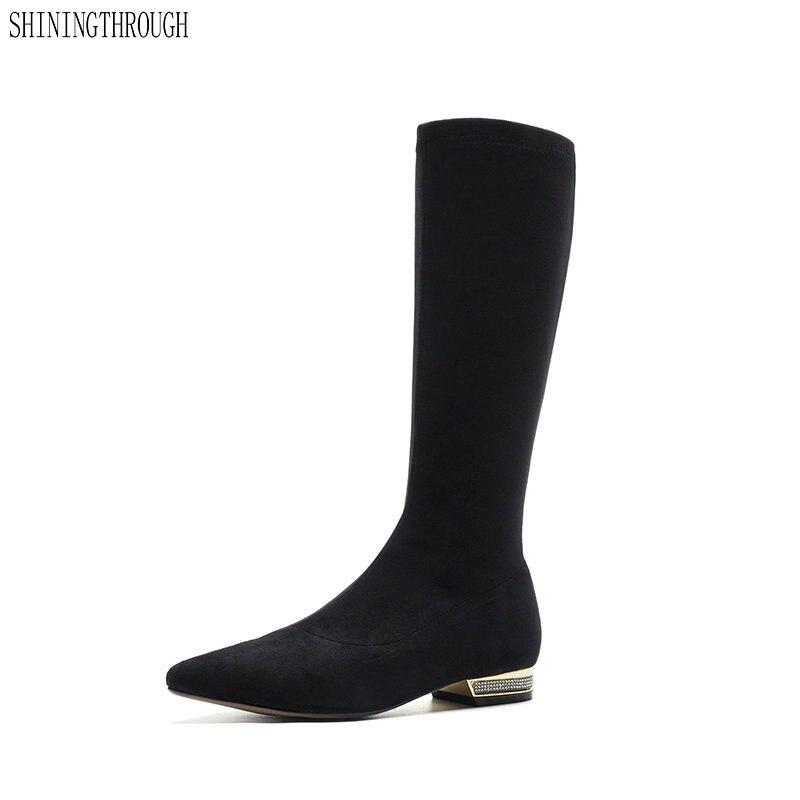 Mode femmes 2 cm bas talons genou bottes hautes longues automne hiver dames chaussures femme daim cuir chevalier bottes grande taille 34-43