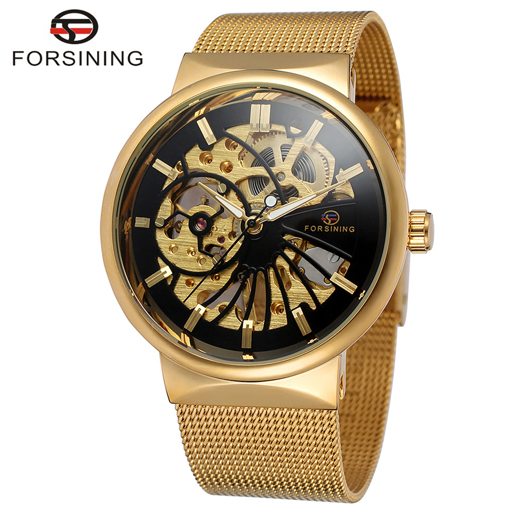 FORSINING Brand Mens Classic Stainless Steel Automatic Mechanical Skeleton Mesh Watch Luxury Wristwatch Relogio Releges  wholesale wilon mens stainless steel mechanical skeleton watch