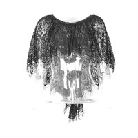 Gothic Lace Two Wear Cappa Sexy Ladies Perspective Loose Capes Victorian Women's Clothing Accessories Black Casual Wraps Shawls