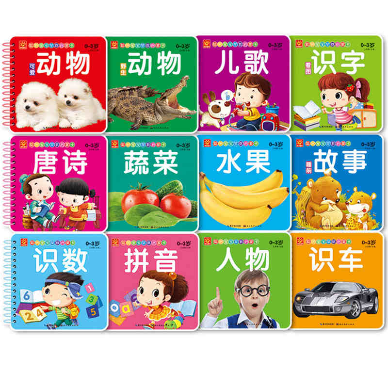 New 10pcs Kids Chinese Learning Cards Pictures Books With Pinyin English Chinese Character Book Hanzi Fruit Animal People Cards