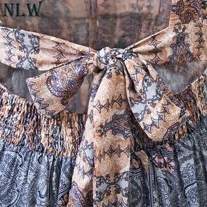 Image 4 - NLW Boho mavi çiçek Maxi elbise Halter yaz elbisesi 2019 kadınlar yüksek bölünmüş Backless seksi uzun elbise plaj partisi Chic kız Vestido