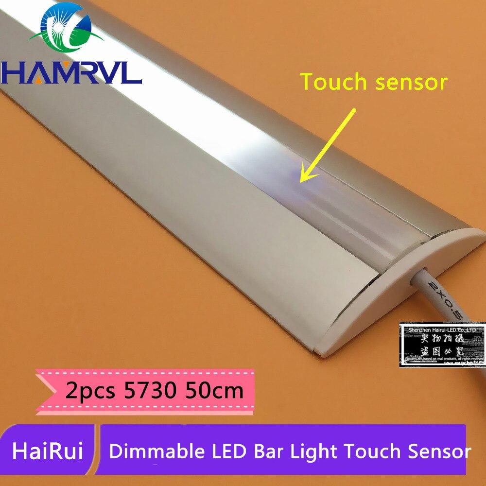 Energy Saving 2pcs 5730 Hairui Dimmable Under Cabinet Strip Lighting Touch Sensor Kitchen Dc12v Rigid