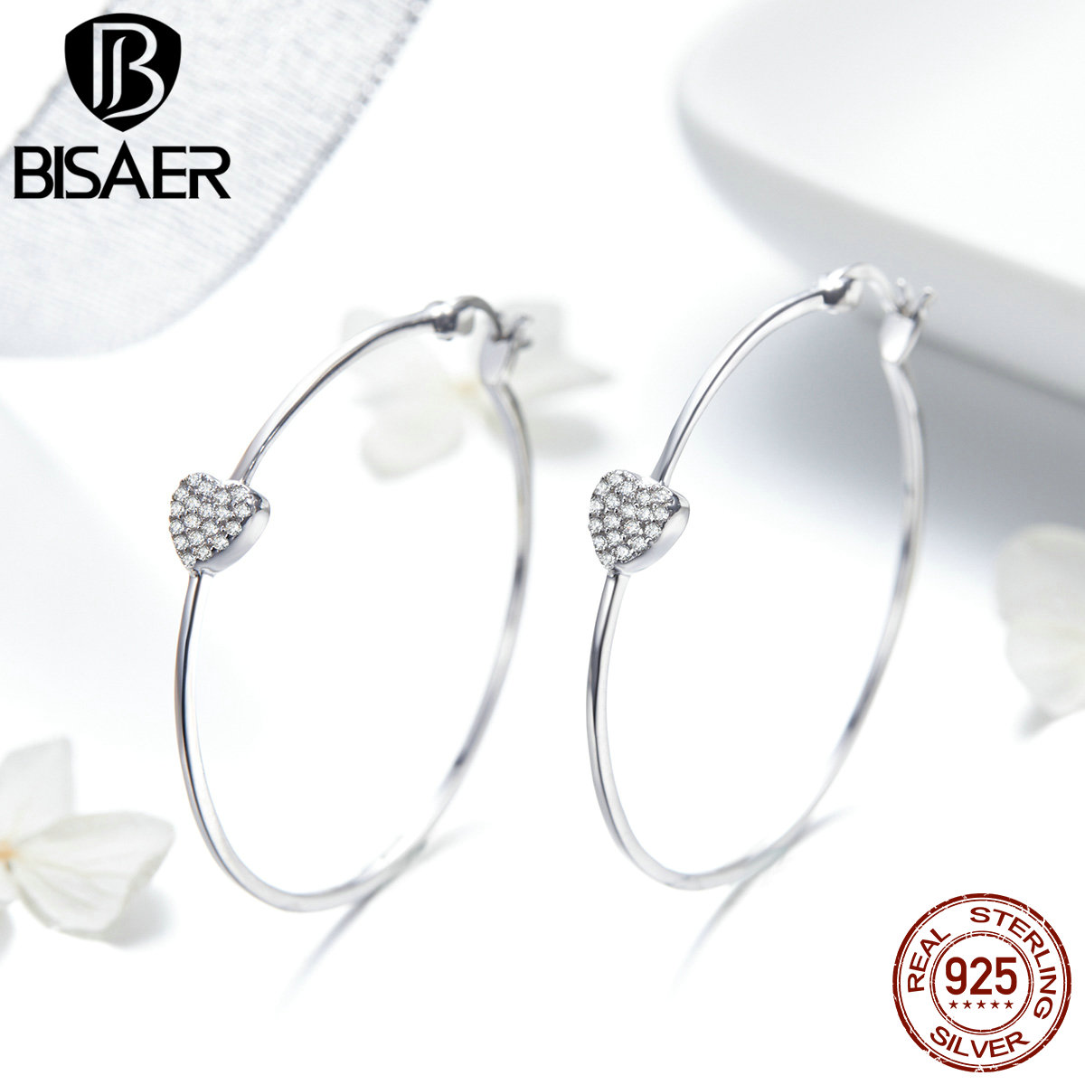 BISAER Stud-Earrings Jewelry 925-Sterling-Silver Heart Women Love Round Pave Big