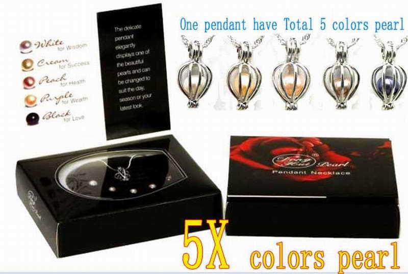 Neue Geschenkwunsch Perlenbox Eine Box hat 5X verschiedene Farben echte Perle und eine Anhänger Halskette-3624 Groß- / Einzelhandel Kostenloser Versand