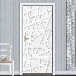 Removível adesivos de porta europeu 3d linha branca espaço à prova dwaterproof água sala estar quarto porta 3d papel parede auto adesivo decalques