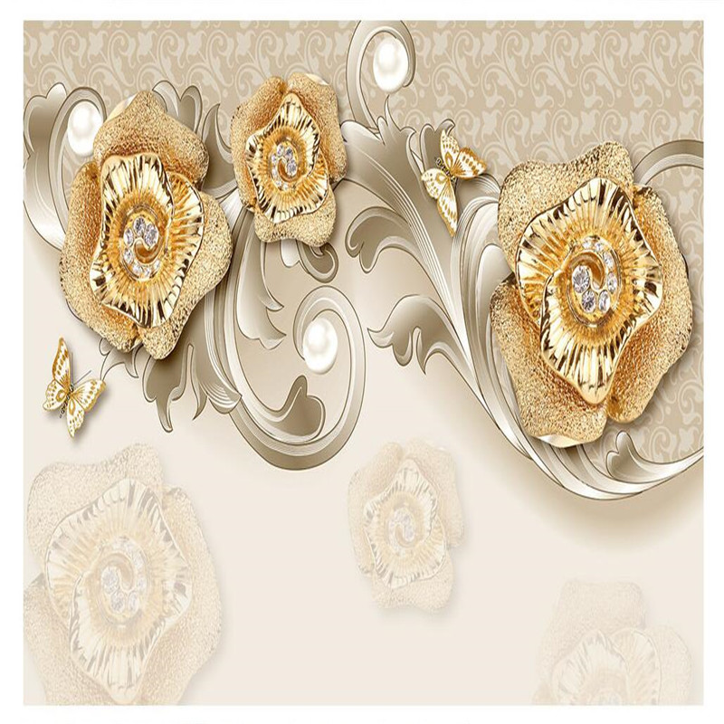 beibehang Wall Panel Wallpaper Rose Gold Jewelry Butterfly