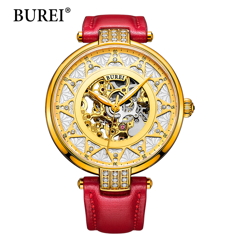 2017 New BUREI Skeleton Movement Rose Golden Dial Sapphire Lens Automatic Watch Wristwatch For Women With White Leather Strap new arrivel white dial mens automatic skeleton mechanical watch with two movement freeship