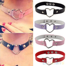 Women Men Cool Punk Goth Rivet Heart-Shape Leather Collar Choker Necklace  1PB6