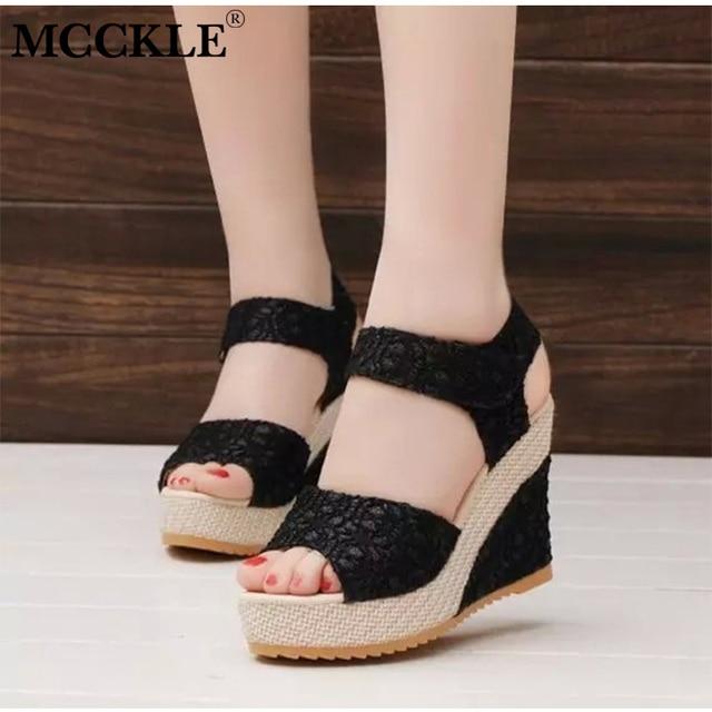 MCCKLE Yaz Kadın Moda Kama Sandalet Peep Toe Pompaları Dantel Kadın Kanca Döngü Ayakkabı Ayak Bileği Kayışı Platformu Yüksek Topuklu Bayanlar 2019