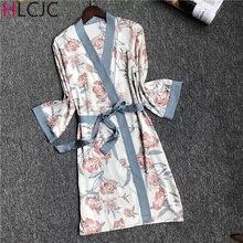Халат шелковое ночное белье атласный рукав халат сексуальный домашний халат с принтом ночная рубашка для дам Повседневный ночной халат женский весна