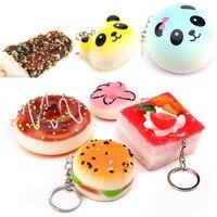20 Pcs Telefon Phone Pendant Squishy Panda Bread Girl Anti Stress Toys Soft Stretchy Squeeze Funny