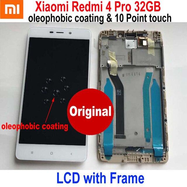 원래 새로운 최고의 Xiaomi Redmi 4 16 기가 바이트/4 프로 프라임 32 기가 바이트 LCD 디스플레이 10 포인트 터치 스크린 디지타이저 어셈블리 센서 프레임