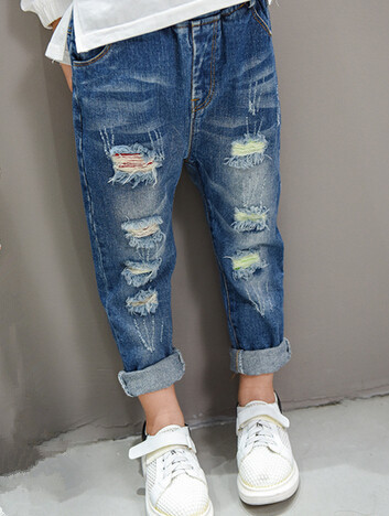 2016 autumn children's clothes girls jeans causal holes denim blue baby girl jeans for girls kids pencil long trousers