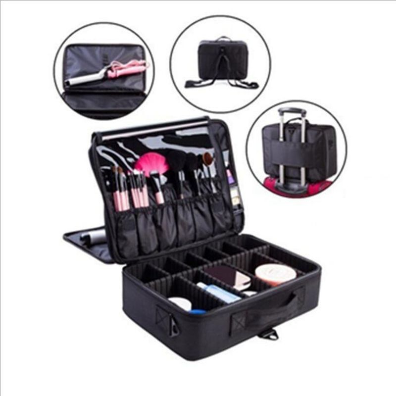 2017 New High Quality Professional Empty Makeup Organizer Bolso Mujer Cosmetic Case Travel Large Capacity Storage Bag Suitcases survival kit tin higen lid small empty silver flip metal storage box case organizer for money coin candy keys