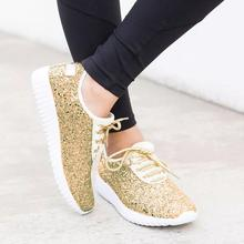 Ladies Sequined Cloth Shoes Women Outdoor Casual Sport Running Breathable Sneaker Spring Fall