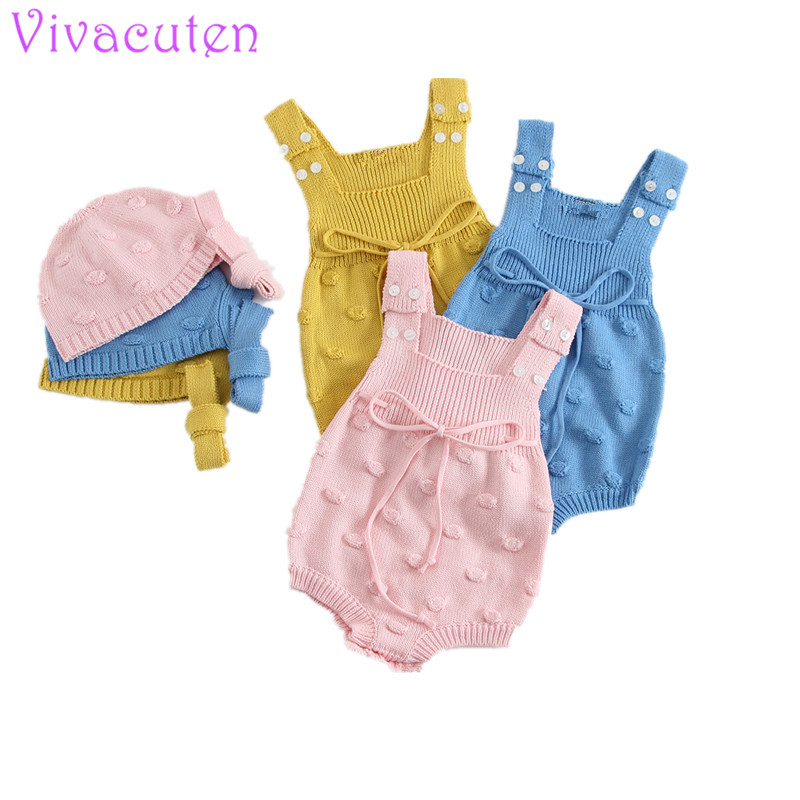 New Baby Knitted   Romper   Overalls Spring Baby Girl Newborn Knitted   Romper   Suits For Babies Bubbles Dotted   Romper  +knitted hat
